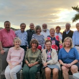 Some snowbird retirees gathered for dinner in Estero, FL, in Feb'15. Can you spot Bruce B, Lee V-K, Phil T, Barb O, Dennis B, Steve C, Chris S, Bonnie H, Joyce N, and Jeanne P? (Spouses also pictured are Will N, Kip H, Dick K, and Carol B.)
