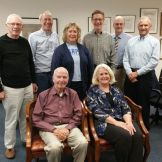 Trygve Thoreson interviewed some early Harper employees, Oct'15 - Bob B, Dave McC, Jeanne P, Tom J, Tryg T, Steve C. Seated- Tom McC, Barb R.