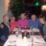 Snowbirds in Scottsdale AZ, Feb'16: Phil T & friend Mary Ellen, Steve C, Clete H & Joan; at Orange Sky restaurant at top of Talking Stick Resort.