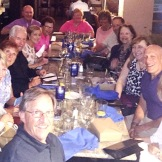 """Harper South"" retirees gathered in Fort Myers FL, Feb'17 -- Starting bottom left are Dick Kingdom (Lee), Chris Staub, Carole+Dennis Brokke, Judy Dincher, Joyce+Will Nolen, Barb Olson, Bonnie Henry+Kipp, Cathy Albergo, Donna Epton, Bruce Bohrer, and Lee Vogel."